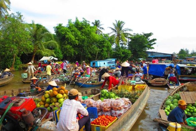 floating market in mekong delta is famous film location in southern vietnam